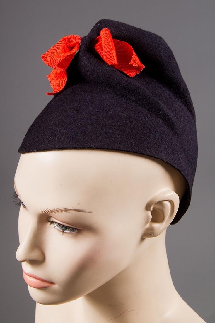 5 LADIES' BLACK HATS, LATE 1930s - 5