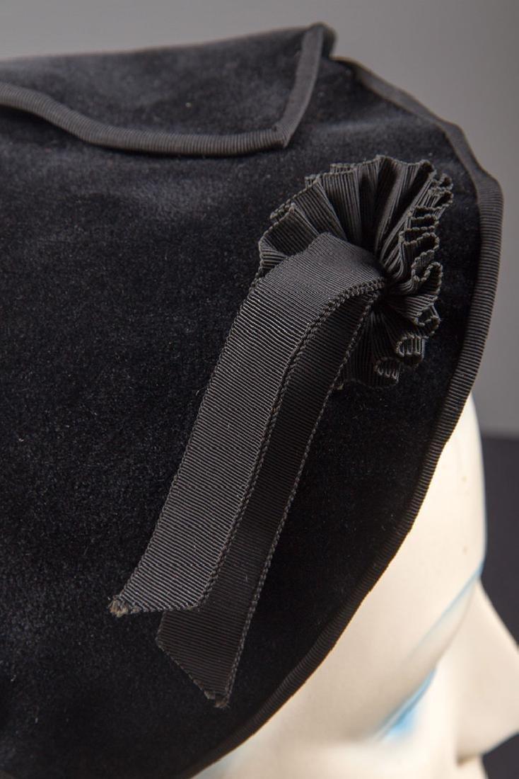 5 LADIES' BLACK HATS, LATE 1930s - 7