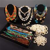 LARGE GROUP BEAD NECKLACES, MID-LATE 20TH C