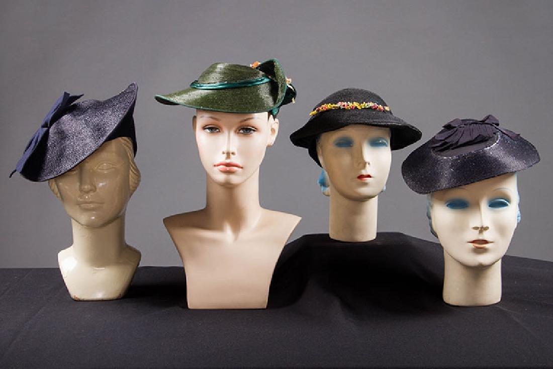 4 PANCAKE-STYLE HATS, 1930s
