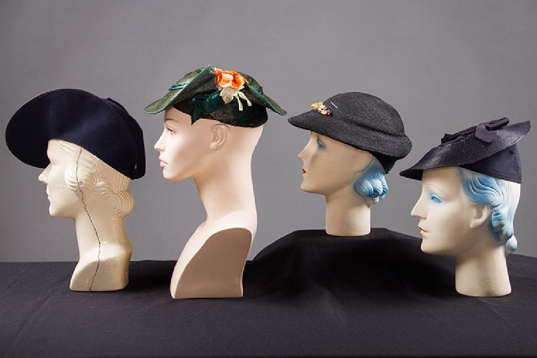 4 PANCAKE-STYLE HATS, 1930s - 2