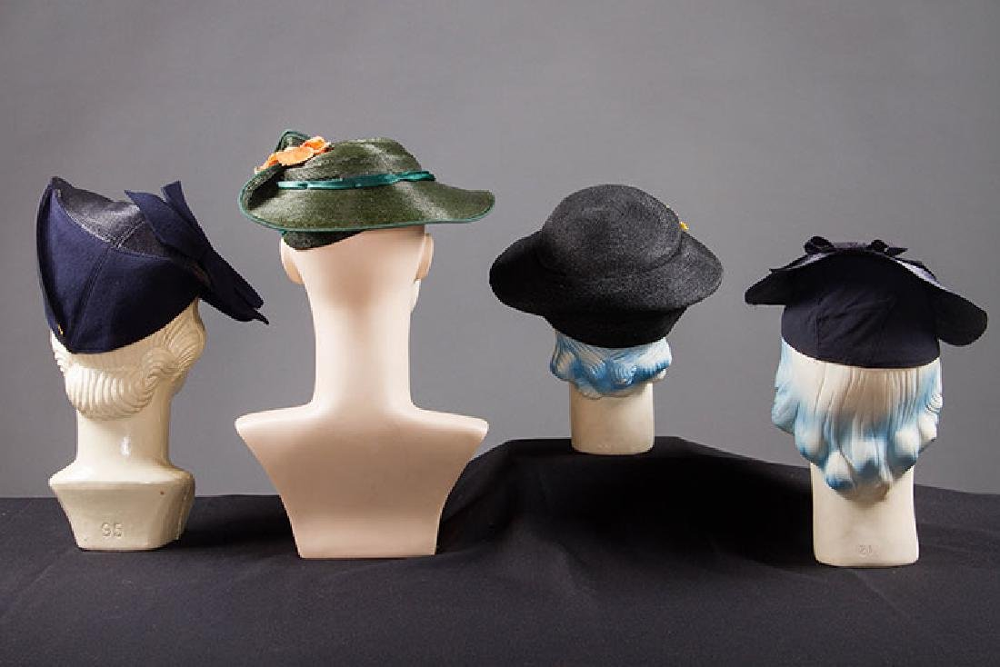 4 PANCAKE-STYLE HATS, 1930s - 3