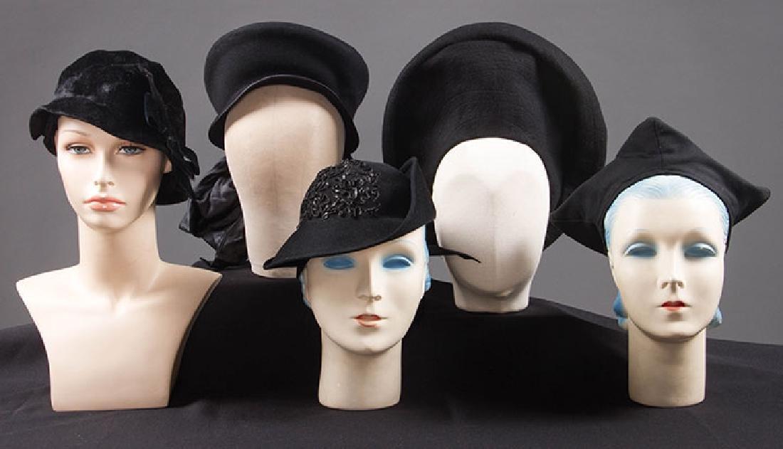 5 UNUSUAL SHAPED FELT HATS, 1930-EARLY 1940s