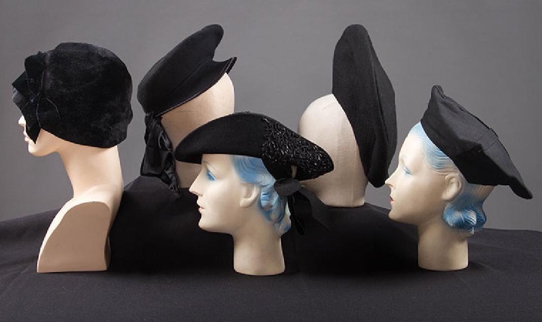 5 UNUSUAL SHAPED FELT HATS, 1930-EARLY 1940s - 2