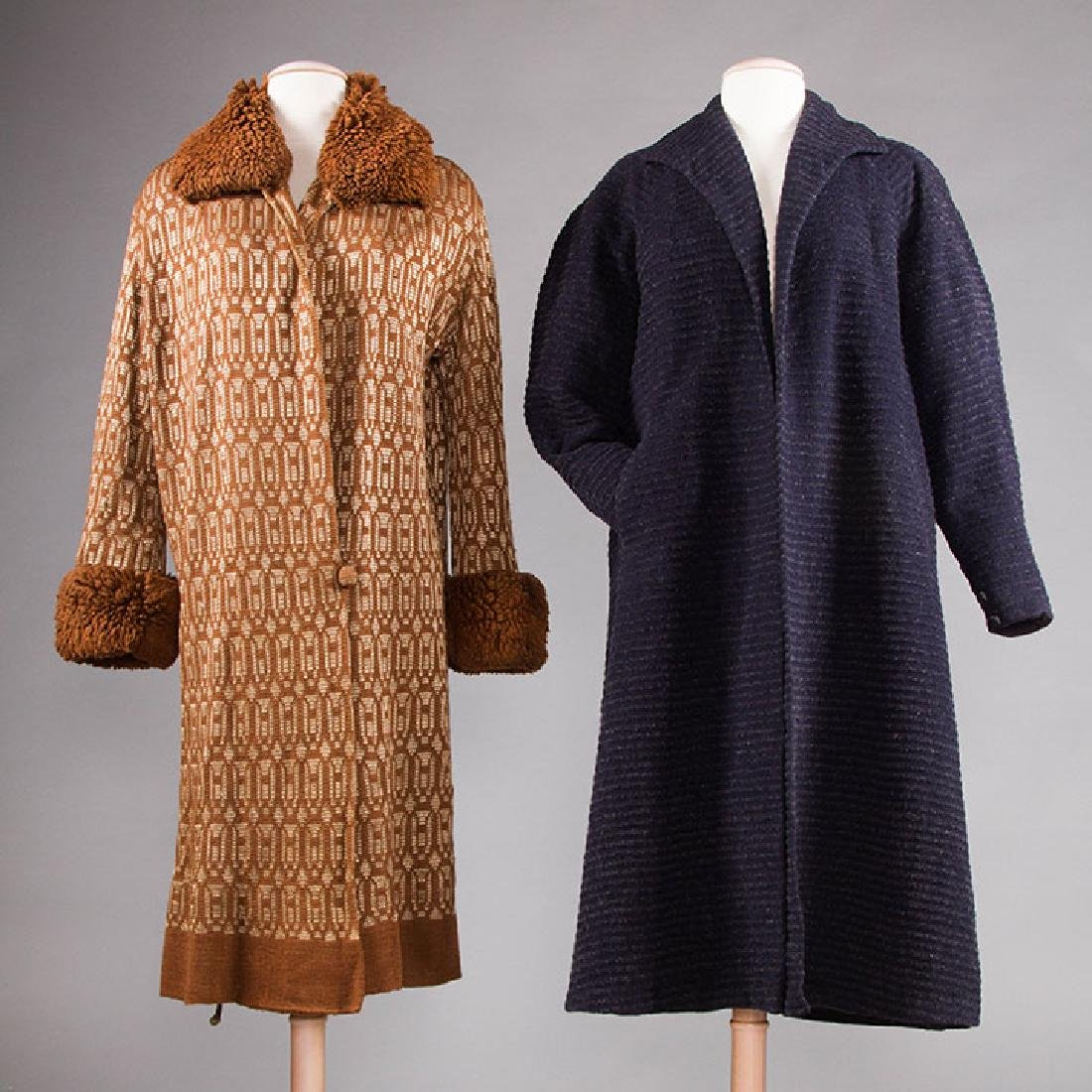 2 WOOL DAY COATS, 1920s & 1930s