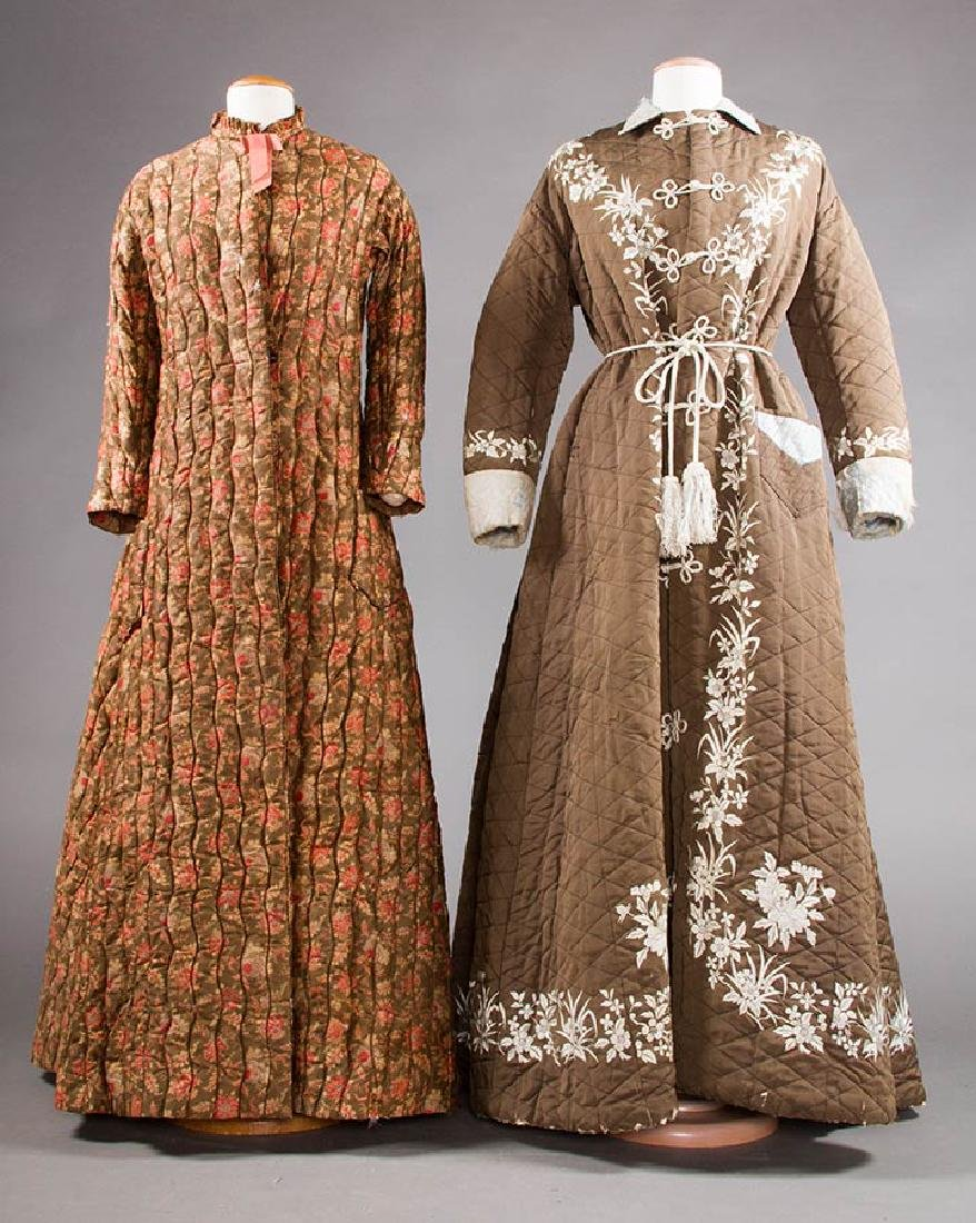 2 QUILTED LADIES' ROBES, 1880S