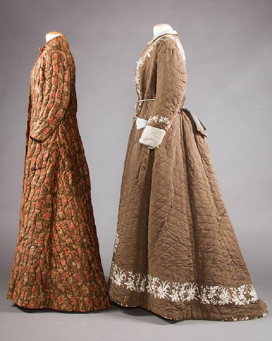 2 QUILTED LADIES' ROBES, 1880S - 2