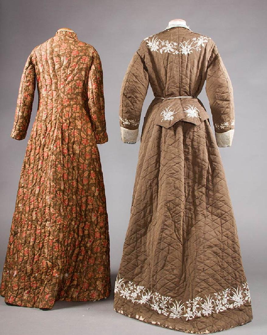2 QUILTED LADIES' ROBES, 1880S - 3