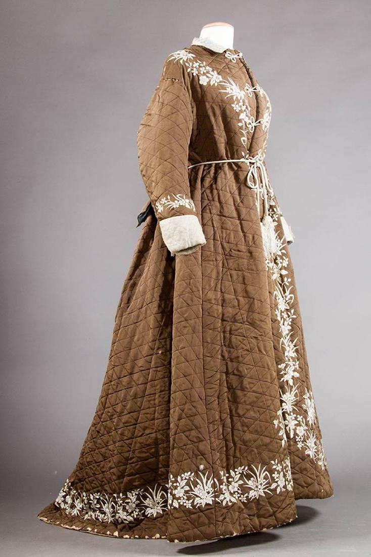 2 QUILTED LADIES' ROBES, 1880S - 4