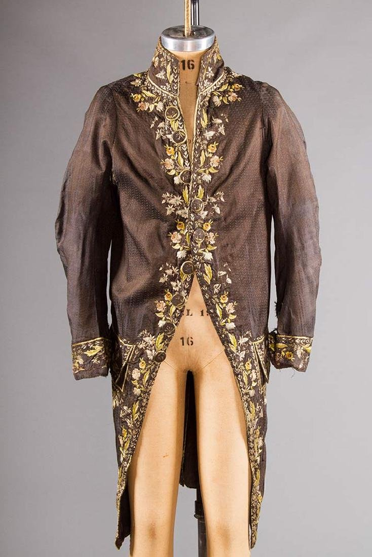 MAN'S EMBROIDERED FROCK COAT, c. 1780