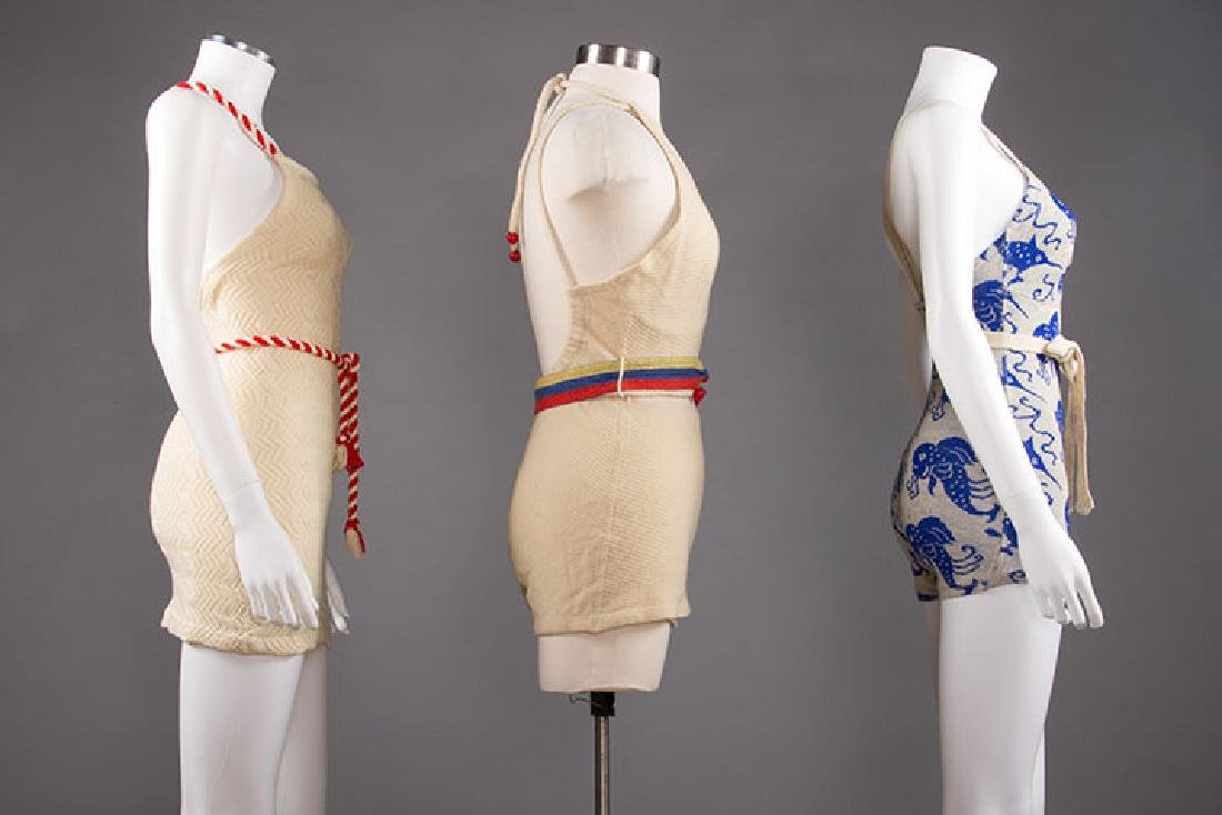 3 LADIES' WOOL KNIT SWIM SUITS, 1930s - 2