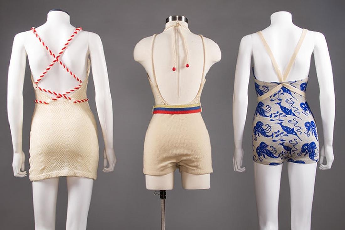 3 LADIES' WOOL KNIT SWIM SUITS, 1930s - 3