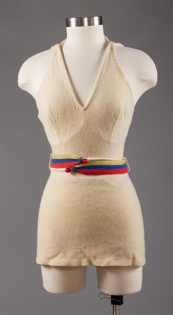 3 LADIES' WOOL KNIT SWIM SUITS, 1930s - 6