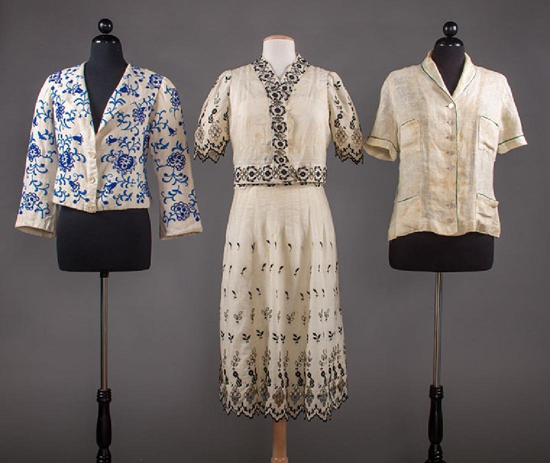 2 SUMMER JACKETS & 1 DRESS, 1930s