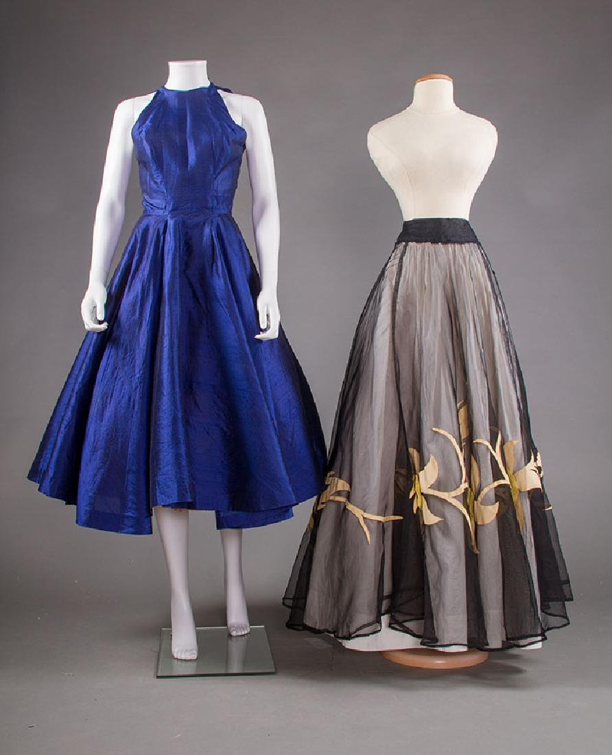 SAPPHIRE PARTY DRESS, 1950s & BLACK SKIRT, 1940s