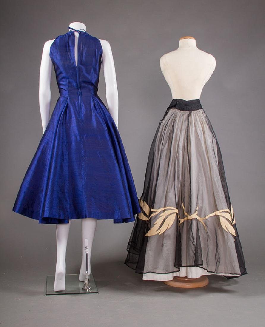 SAPPHIRE PARTY DRESS, 1950s & BLACK SKIRT, 1940s - 3