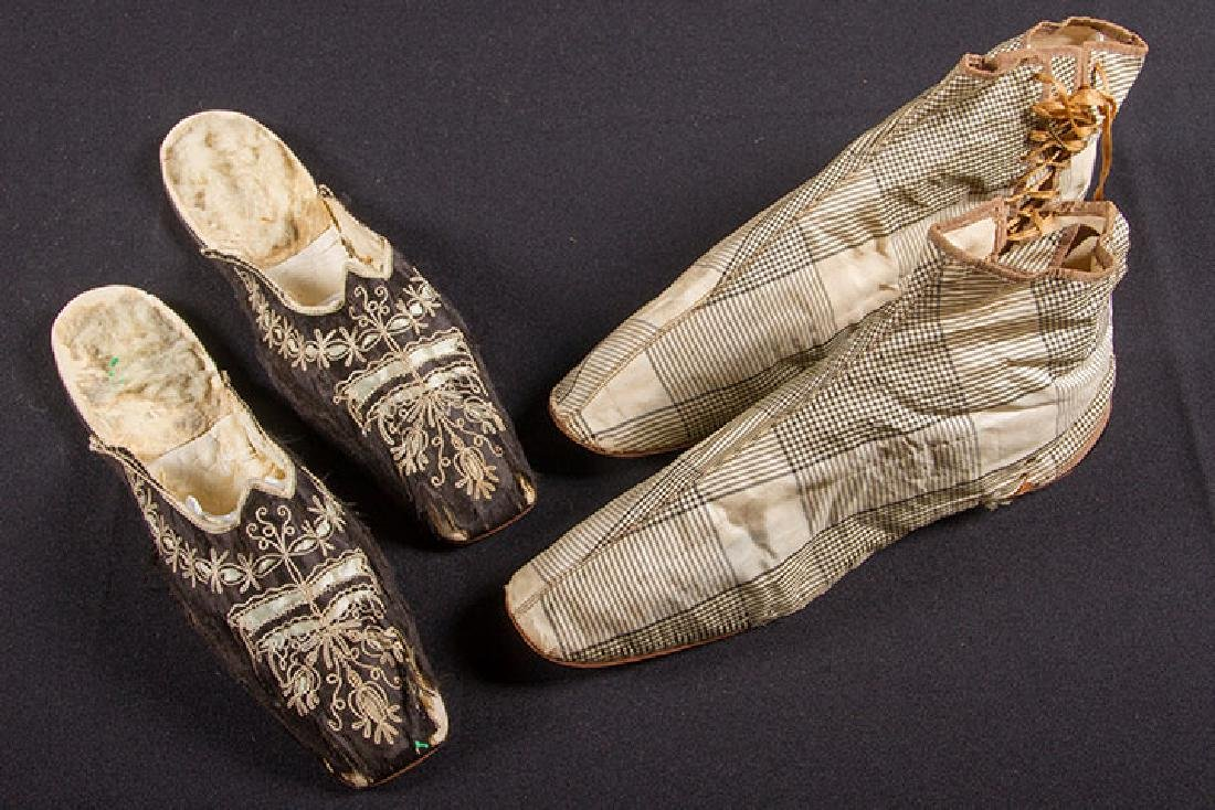 PAIR SIDE LACED BOOTS & PAIR MULES, 1840-1860