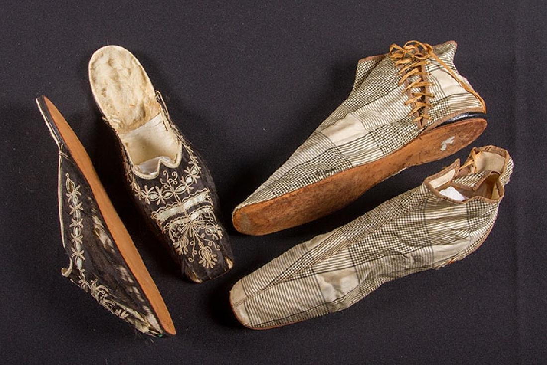 PAIR SIDE LACED BOOTS & PAIR MULES, 1840-1860 - 2