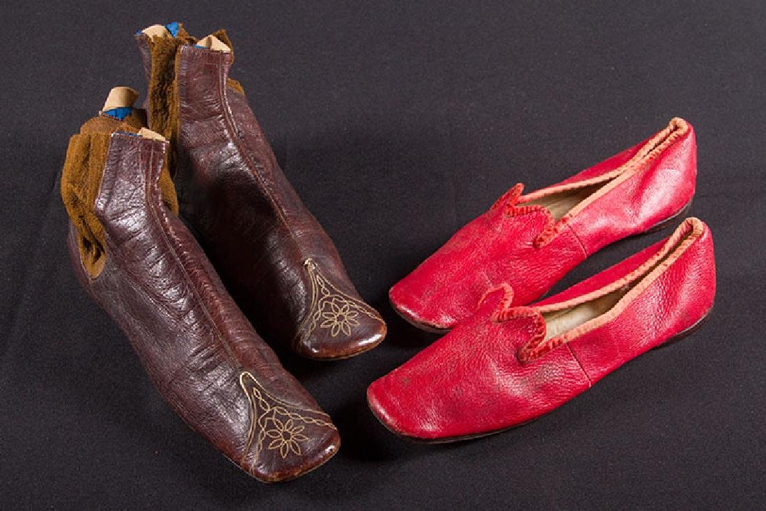 LADY'S GAITER BOOTS & RED SHOES, 1860s