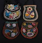 4 NATIVE AMERICAN BEADED BAGS, 19TH C