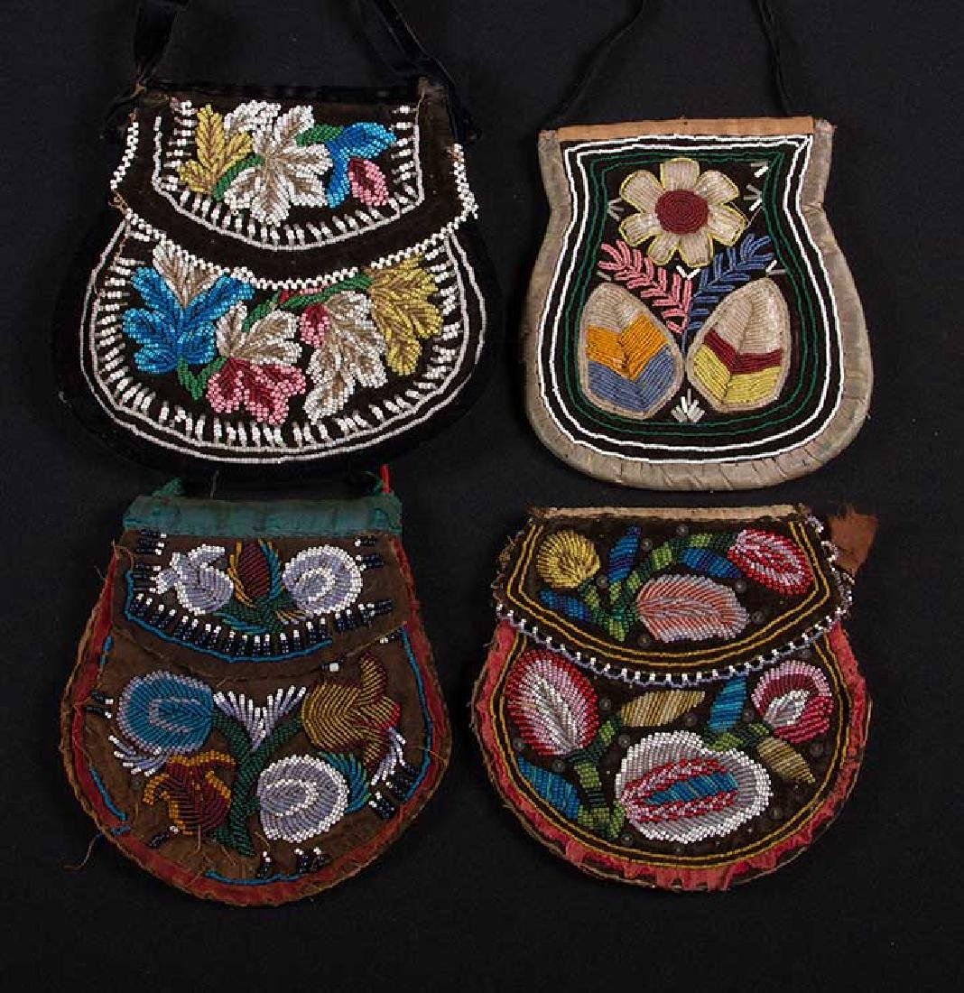 4 NATIVE AMERICAN BEADED BAGS, 19TH C