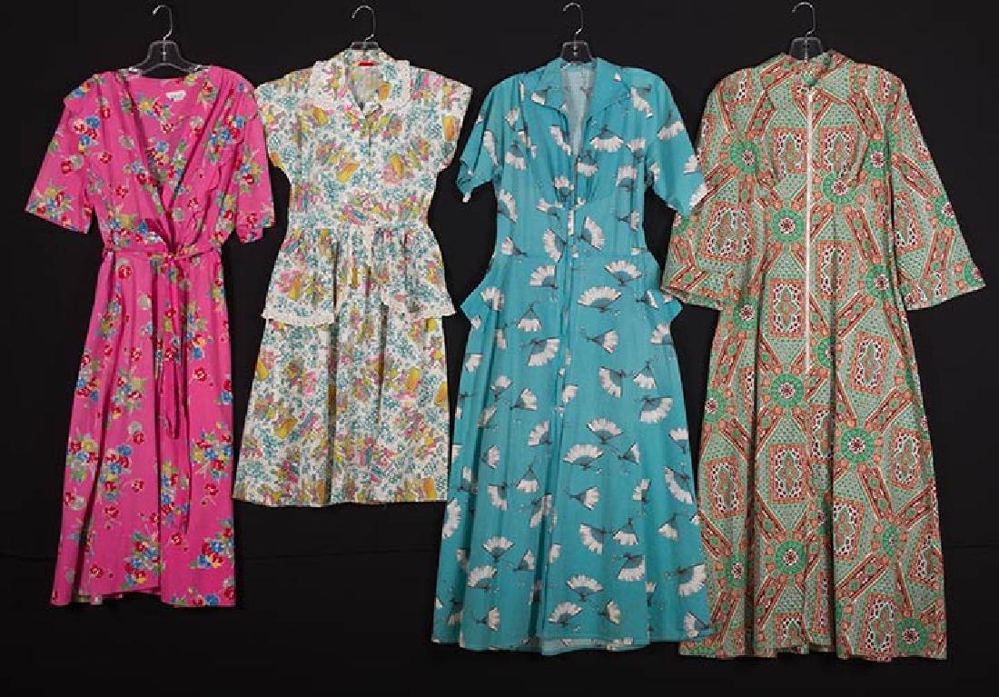 4 PRINTED HOUSE DRESSES, 1940s