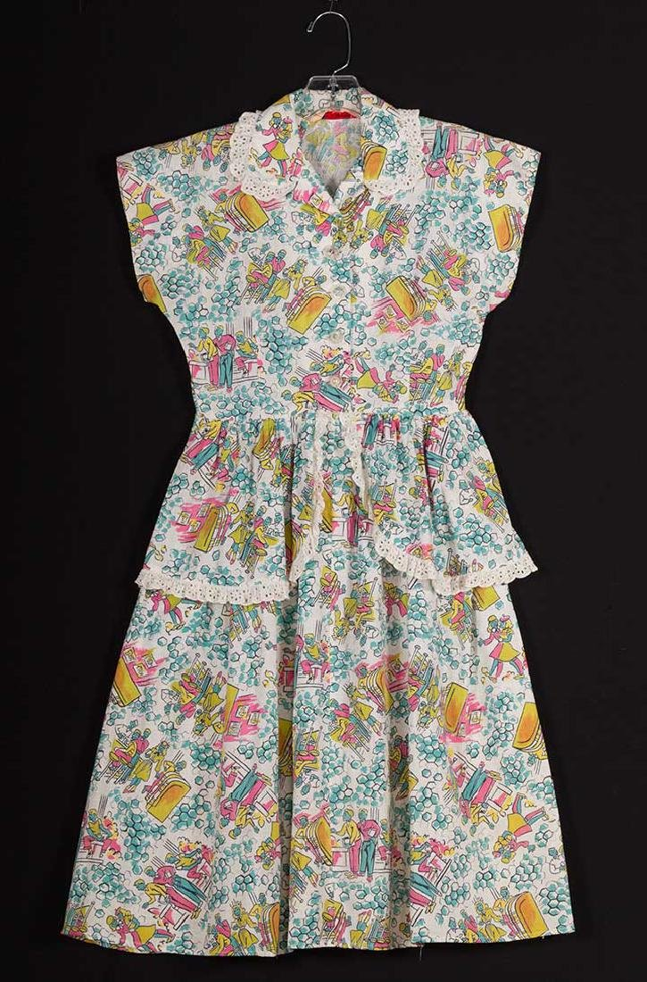 4 PRINTED HOUSE DRESSES, 1940s - 3