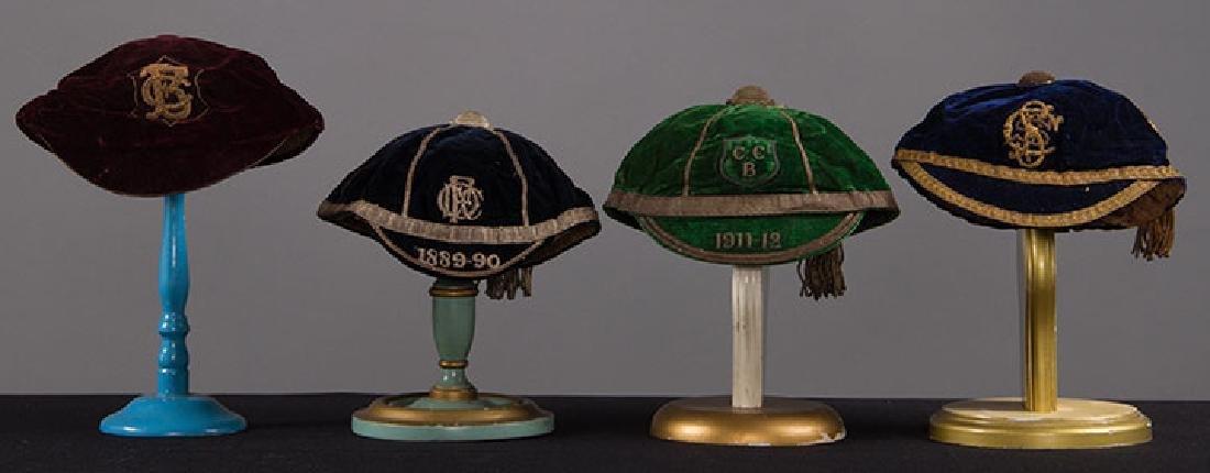 4 BOY'S VELVET BOARDING SCHOOL CAPS, 1889-1912