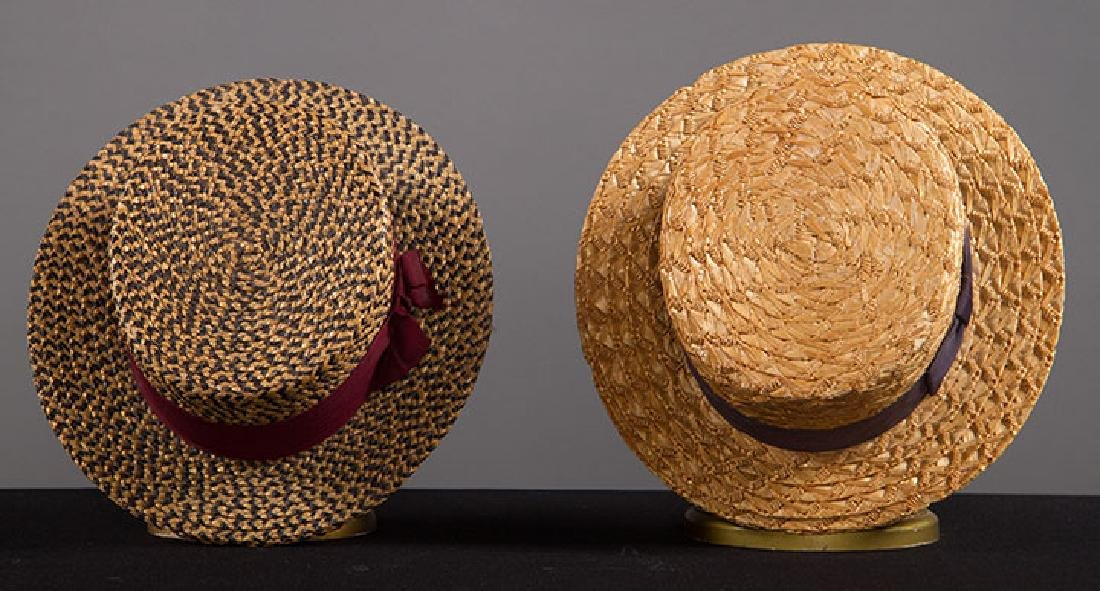 2 MEN'S BOATER HATS, EARLY 20TH C