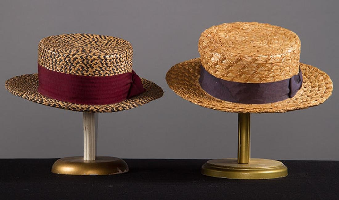 2 MEN'S BOATER HATS, EARLY 20TH C - 2