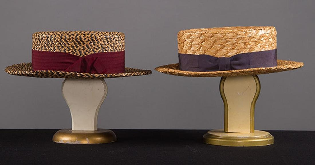 2 MEN'S BOATER HATS, EARLY 20TH C - 3