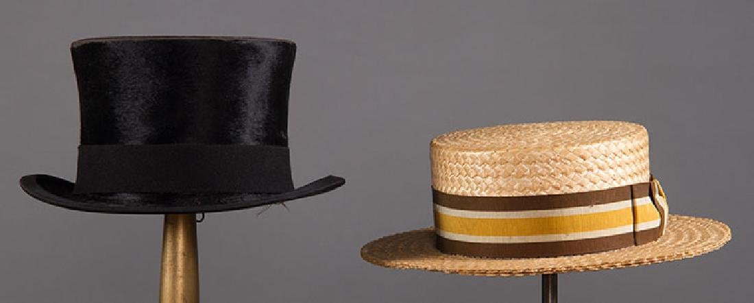 TOP HAT, 1908 & BOATER HAT, c. 1930
