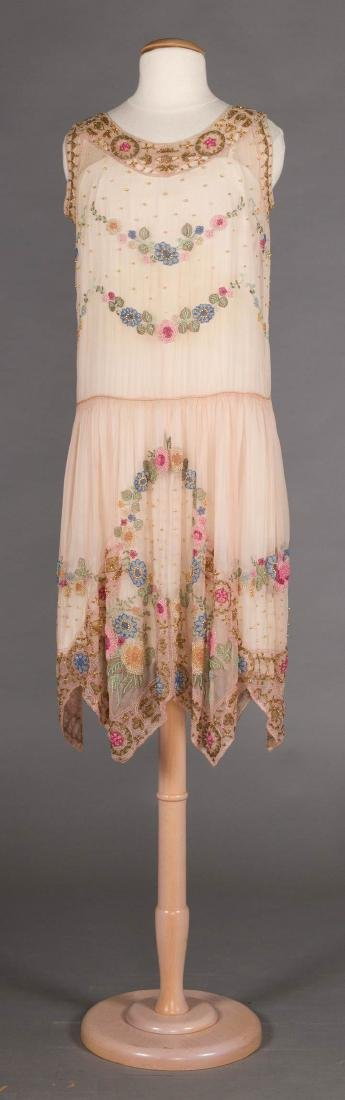 BEADED PALE PINK PARTY DRESS, 1920s