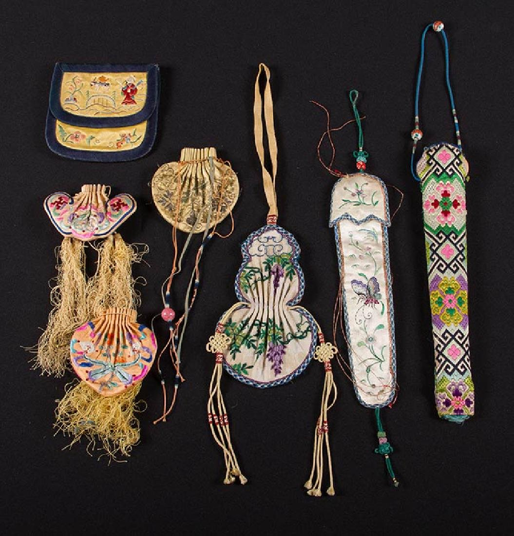 7 EMBROIDERED BAGS & CASES, CHINA