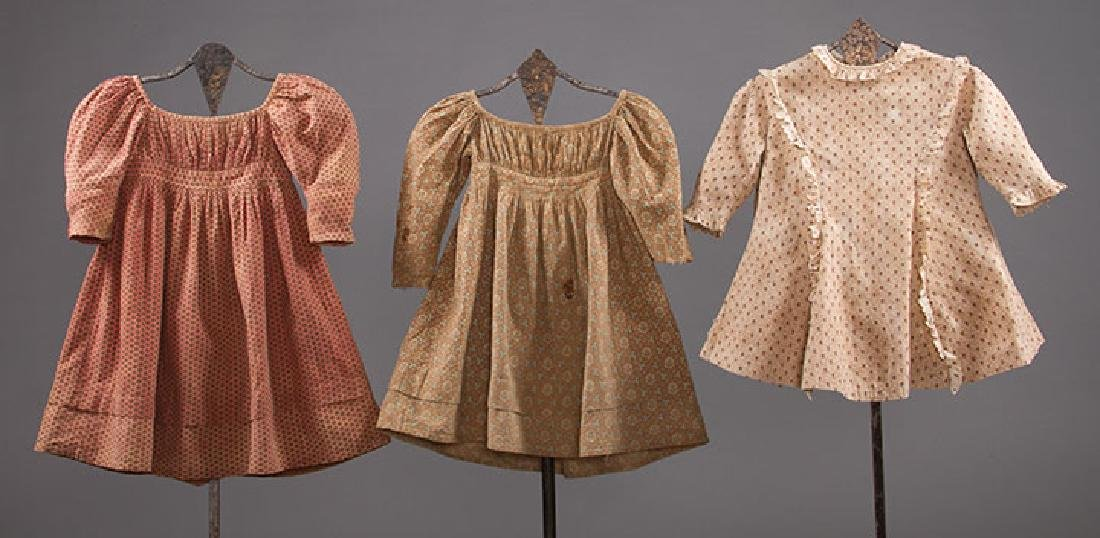 3 TODLERS' CALICO DRESSES, 1820s & 1860s