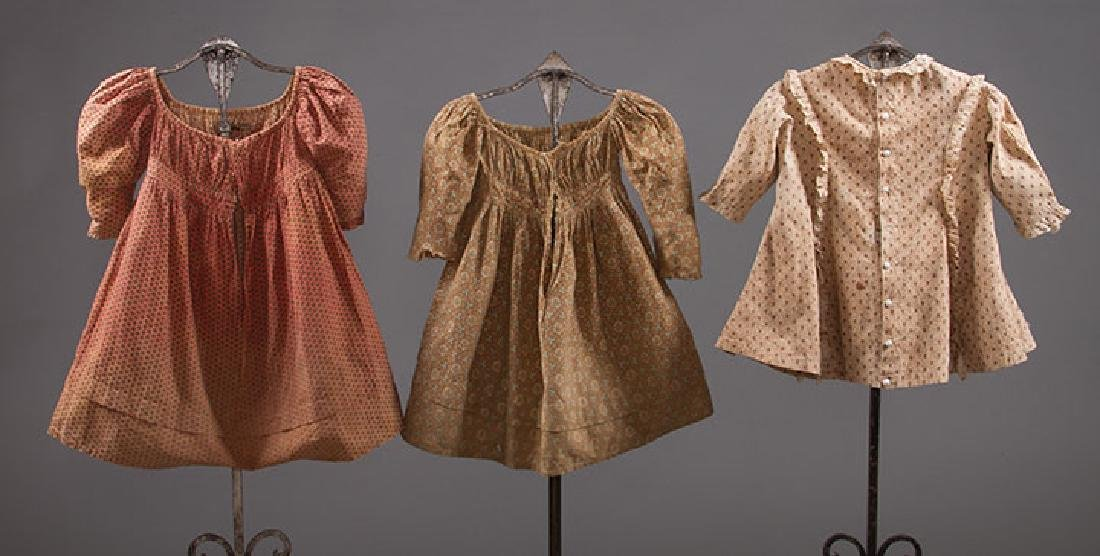 3 TODLERS' CALICO DRESSES, 1820s & 1860s - 2
