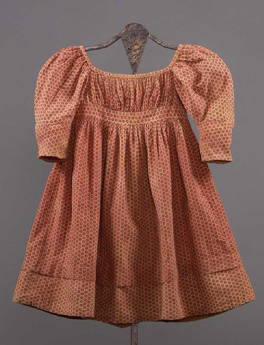 3 TODLERS' CALICO DRESSES, 1820s & 1860s - 3