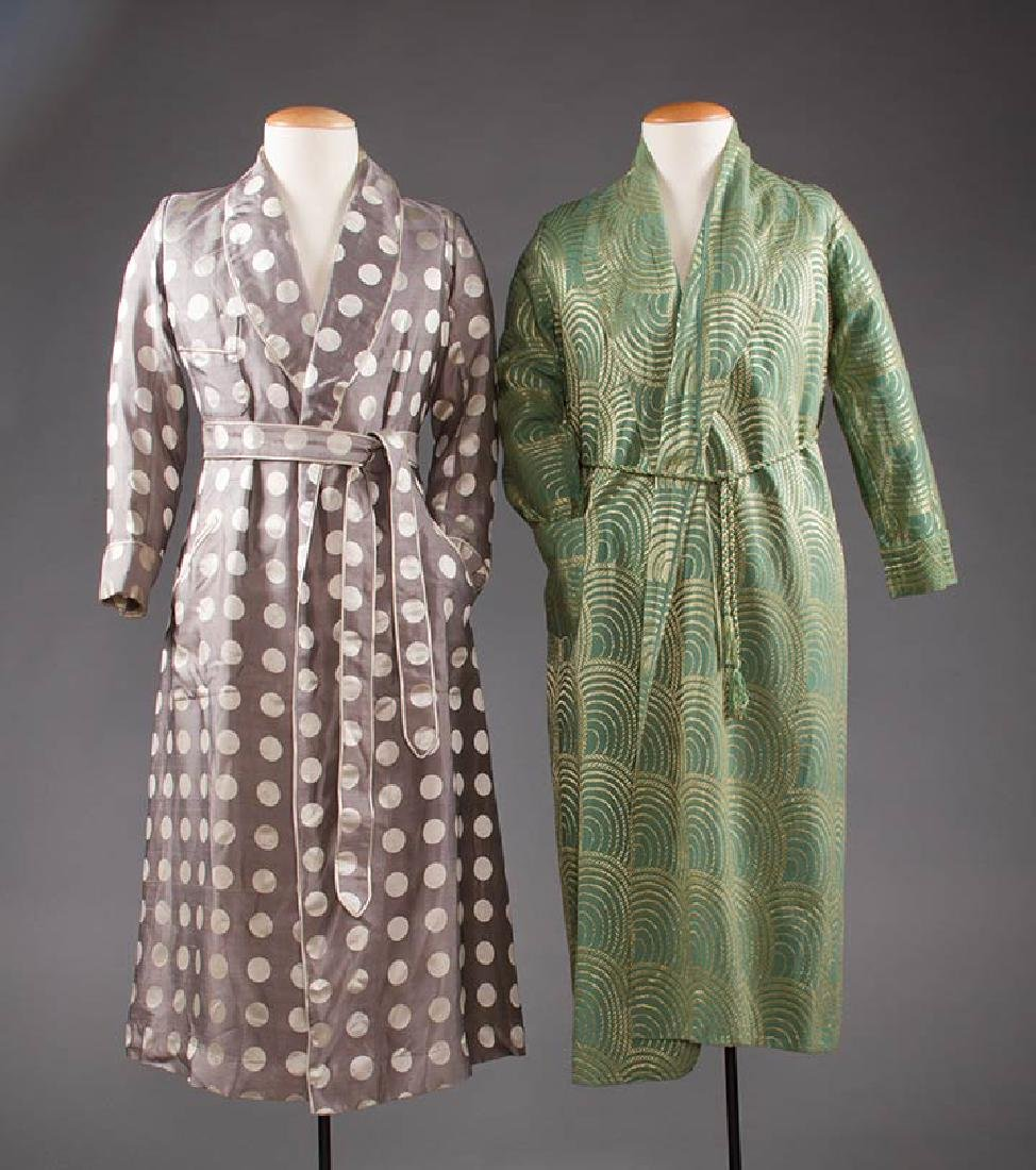 2 MEN'S SILK BATH ROBES, 1930s & 1950s