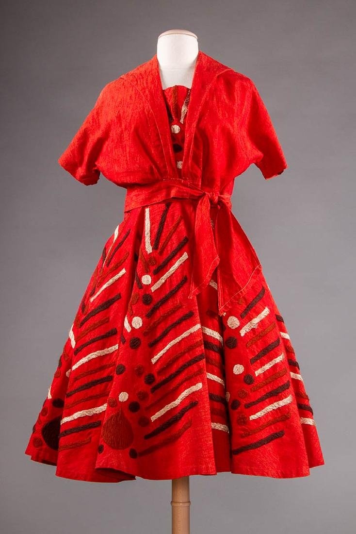 EMBROIDERED RED DRESS, TAXCO MEXICO, 1950s
