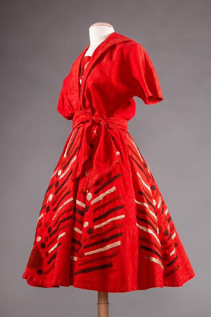 EMBROIDERED RED DRESS, TAXCO MEXICO, 1950s - 2