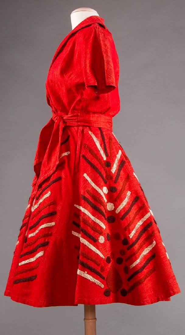 EMBROIDERED RED DRESS, TAXCO MEXICO, 1950s - 3