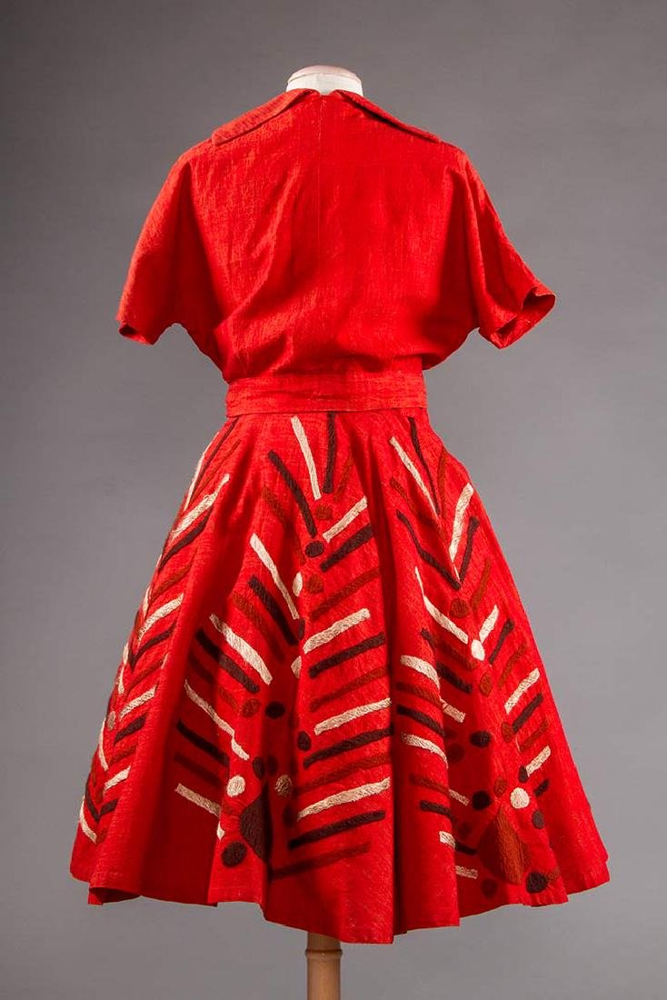 EMBROIDERED RED DRESS, TAXCO MEXICO, 1950s - 4