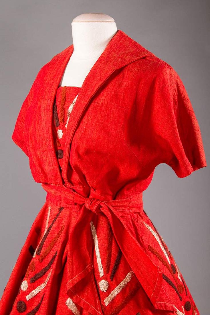 EMBROIDERED RED DRESS, TAXCO MEXICO, 1950s - 6