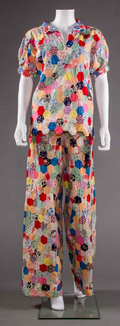 COLORFUL PIECED QUILT BEACH PJs, 1930s