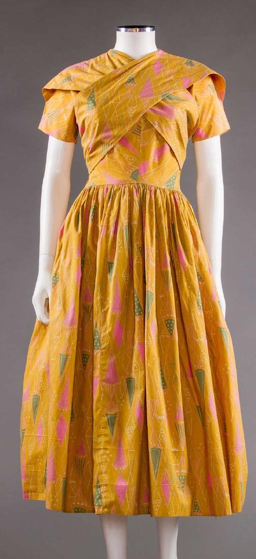CLAIRE McCARDELL COTTON PRINT DRESS, 1950s