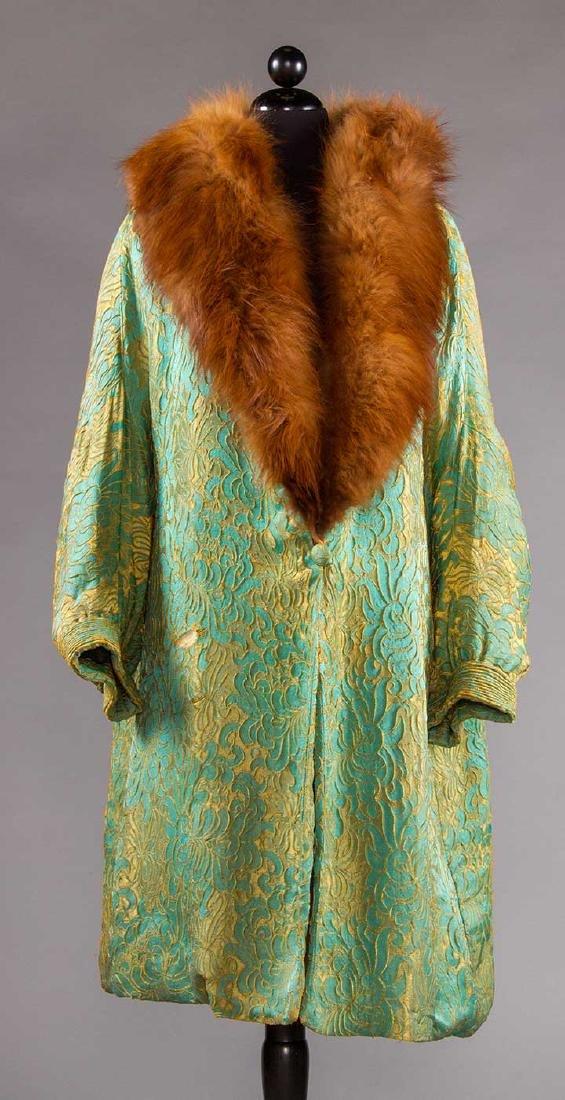 TURQUOISE & GOLD OPERA COAT, 1920s