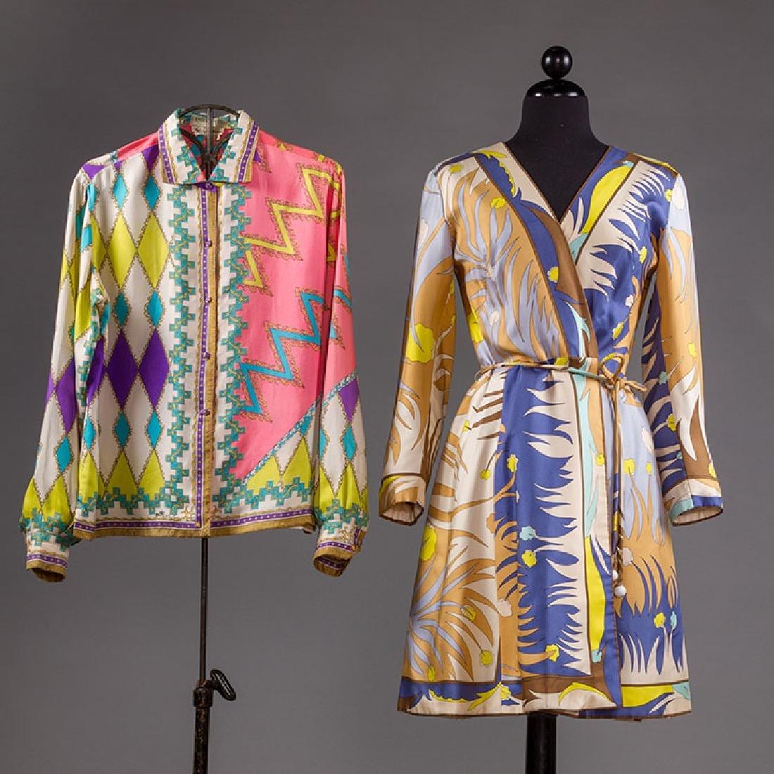 PUCCI SILK BLOUSE & SILK WRAP DRESS, 1970s