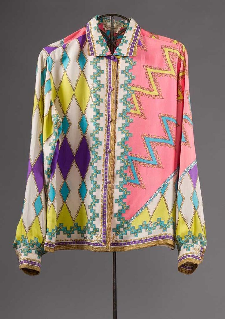 PUCCI SILK BLOUSE & SILK WRAP DRESS, 1970s - 3