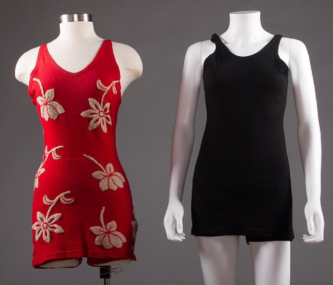 2 LADIES' WOOL KNIT SWIM SUITS, 1920s - 1930s