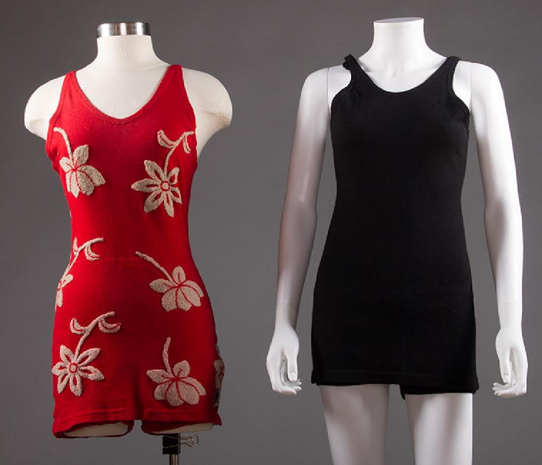 2 LADIES' WOOL KNIT SWIM SUITS, 1920s - 1930s